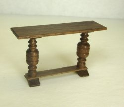Half Inch Scale Hall or Library Table, Walnut
