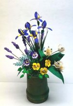 Iris, Pansies, Tulips & Lavender in Clay Pot