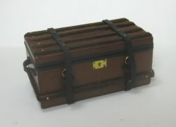 Leather Trunk with Wooden Trim by Jose Maria Gomez