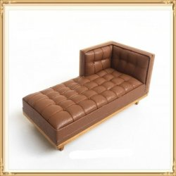 Midcentury Modern Chaise, Leather