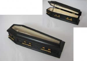 Ornate Black Coffin with Glass Lid