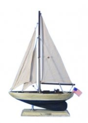 Wooden Rustic Enterprise Model Sailboat, 16""
