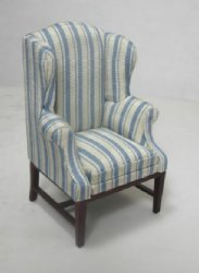 Striped Wing Chair with Mahogany Legs - SPECIAL PRICE