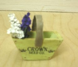 Green Wooden Flower Trug with Lilacs