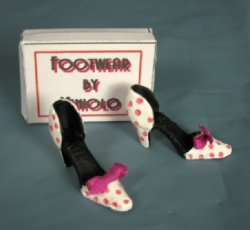 Ladies' Shoes, Pink Polka Dot Cutout Pumps