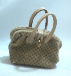 Carpet Bag, Brown on Tan Velvet