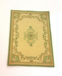 Needlepoint Rug, Teal, Beige, and Cream