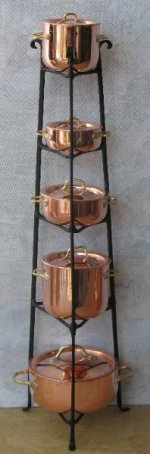 Standing Pot Rack with Five Copper Pots