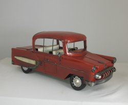 "Red Tin Car with White Detail, 1"" Scale"