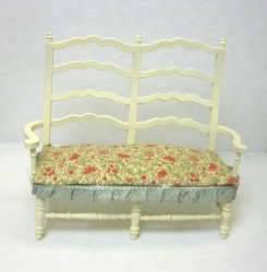 Country French Settee in Buttery Yellow with Floral Fabric