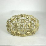 Oval Filigree Brass Fireplace Screen