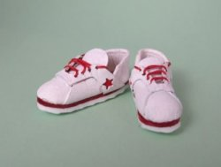 Tennis Shoes, White with Red