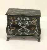 Black Bombe Chest with Handpainted Scroll Design