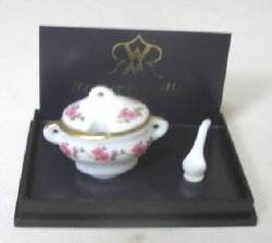 Reutter Rose Pattern Soup Tureen and Ladle