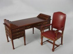 Double Pedestal Desk with Leather Chair, Walnut