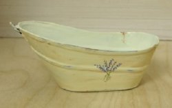 Old Fashioned Painted Metal Bathtub, Yellow