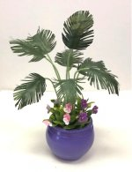 Parlor Palm with Pansies