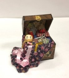 Sewing Trunk with Black Floral Fabric