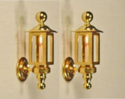 Gold Plated Brass Coach Lights, Pair