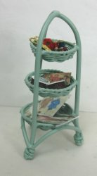 "3-Tier ""Wicker"" Sewing Stand, Green"