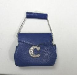 Blue Leather Designer Purse