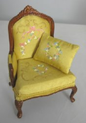 French Provincial Chair with Hand Painted Upholstery, Yellow
