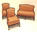 """Amise"" Country French Settee and Chairs, Red & Gold Check"