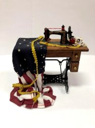 Sewing Machine with U.S. Flag in Progress