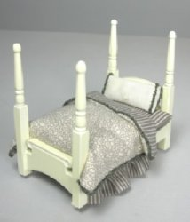 "1/2"" Scale Four Poster Bedwith Taup/Gray Dressing"
