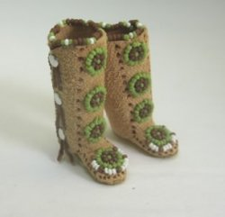 Native American Beaded Leather Boots by K. Coursien