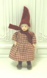 Gnome Girl In Checked Dress