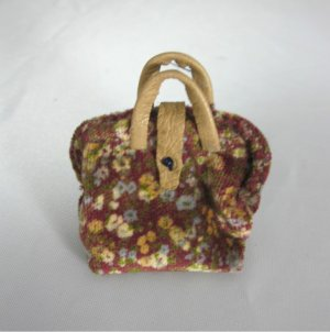 Burgundy Velvet Carpet Bag