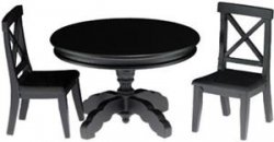 Black Pedestal Table with Two Chairs