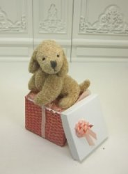 Stuffed Dog in Pink and Gold Gift Box