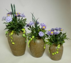 Purple Dahlias and Daisies in Urn, Large