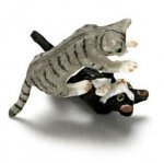 "1/2"" Scale Black and Gray Cats or 1"" Scale Kittens Playing"