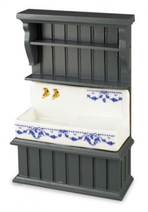 Country Sink in Blue Cabinet