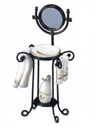 Pink Rose Wash Stand with Mirror, Towels, Bowl and Pitcher