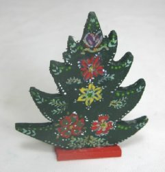 Folk Art Painted Christmas Tree Firescreen