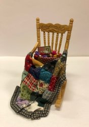 Rocking Chair with Quilt in Progress, Mixed Colors