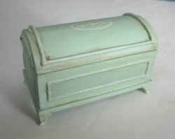 Hand Painted Shabby Chic Domed Blanket Chest in Sea Glass Blue