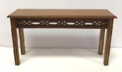 Walnut Console Table with Carved Open Work by Gary Elmer