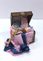 Sewing Trunk, Pink Fabric with Blue Trim