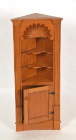 "Cherry Corner Cupboard with Shell Carving Marked ""Gould"""