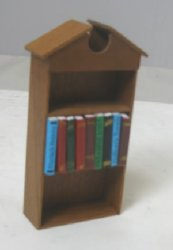 "1/2"" Scale Walnut Open Pediment Bookcase with Books"