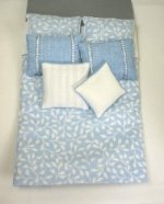 Double Bed Set in Light Blue and White Floral Print