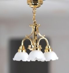 3-Arm LED Brass Ceiling Lamp, Clear Shades, Battery Oerated