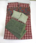 Double Bed Set in Dark Red Plaid, Plus Throw Blanket