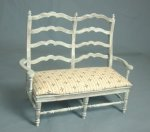 Country French Settee, Blue, Aged