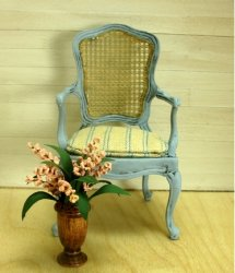 Blue French Bergere with Striped Linen Seat and Cane Back